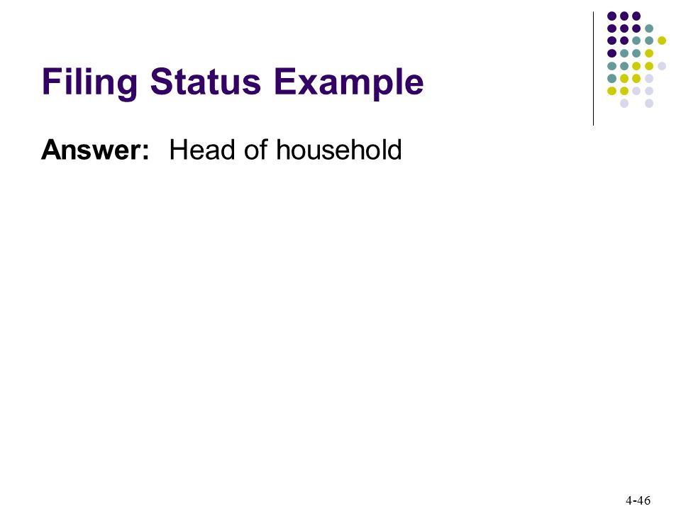 Filing Status Example Answer: Head of household