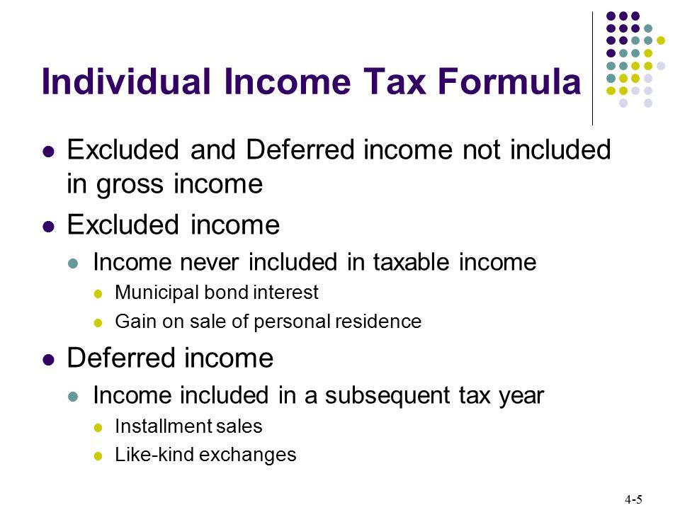 Individual Income Tax Formula