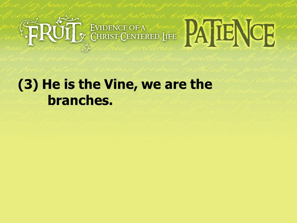 (3) He is the Vine, we are the branches.