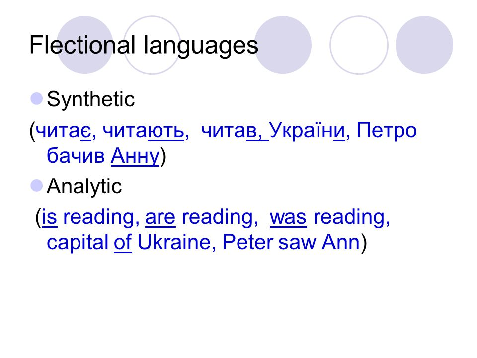 Flectional languages Synthetic