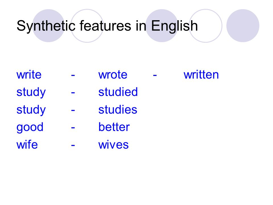 Synthetic features in English