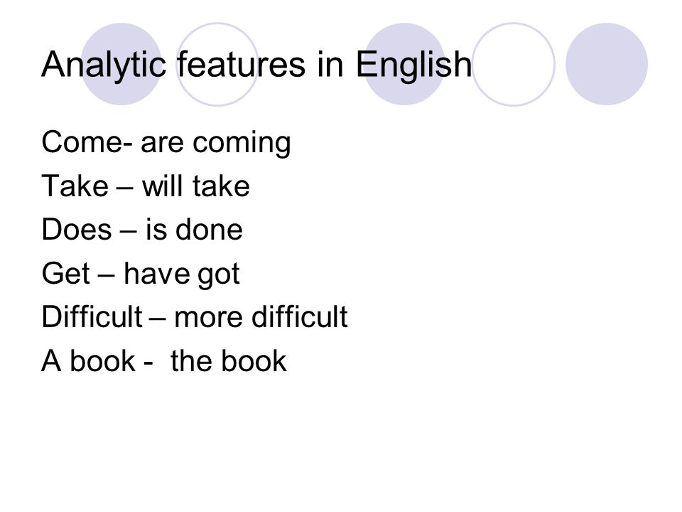 Analytic features in English