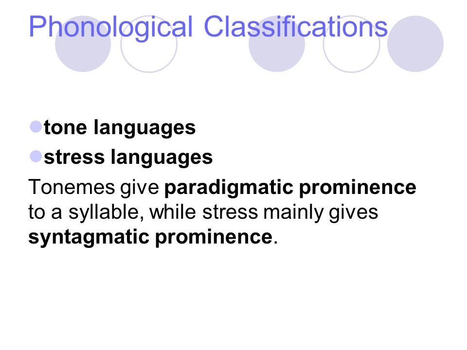 Phonological Classifications