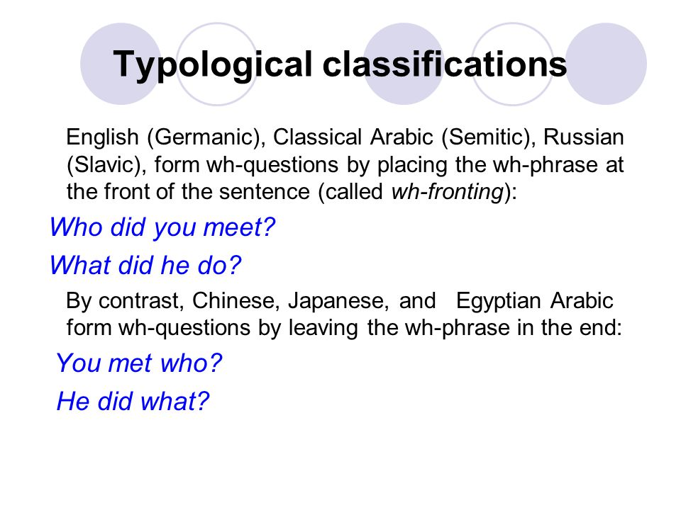 Typological classifications