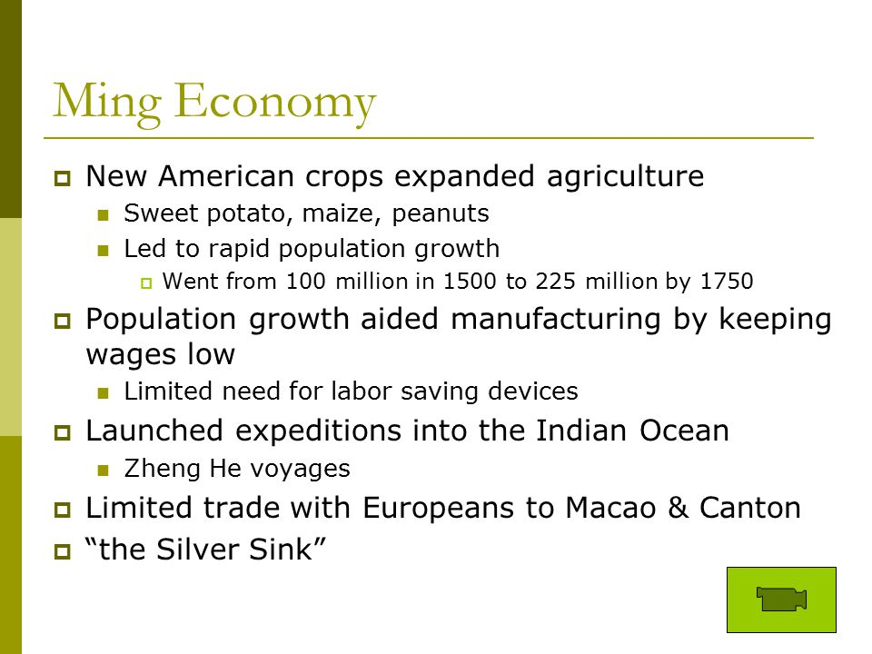 Ming Economy New American crops expanded agriculture