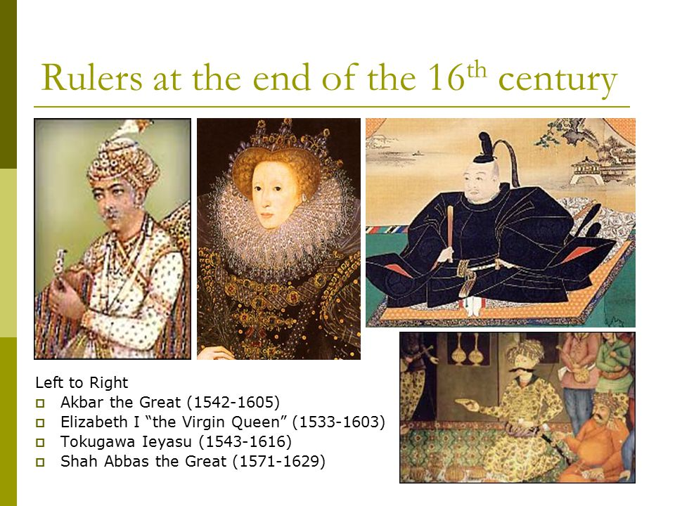 Rulers at the end of the 16th century