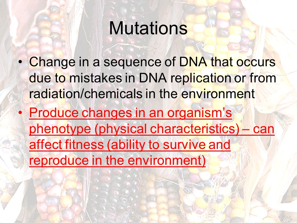 Mutations Change in a sequence of DNA that occurs due to mistakes in DNA replication or from radiation/chemicals in the environment.
