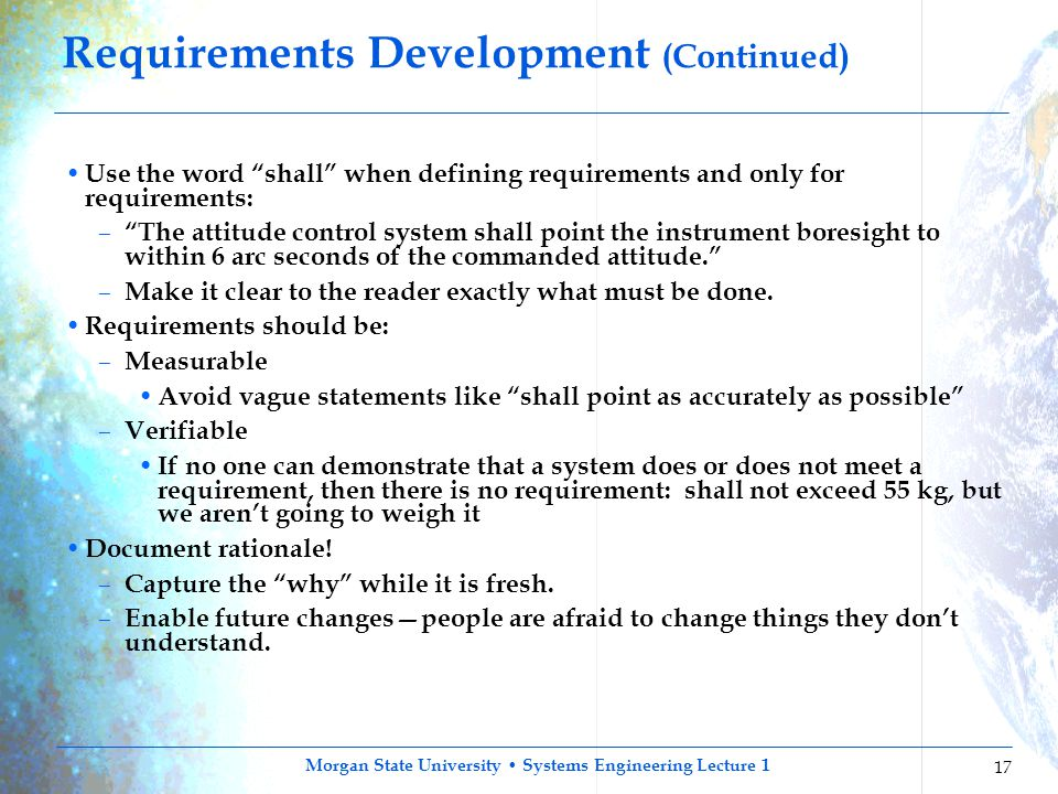 Requirements Development (Continued)