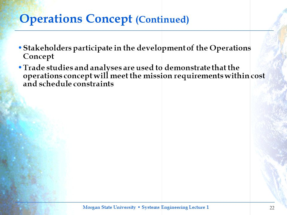 Operations Concept (Continued)