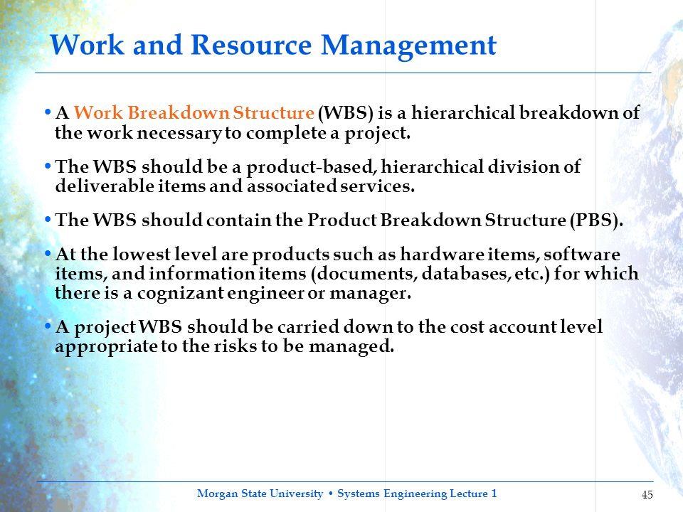 Work and Resource Management