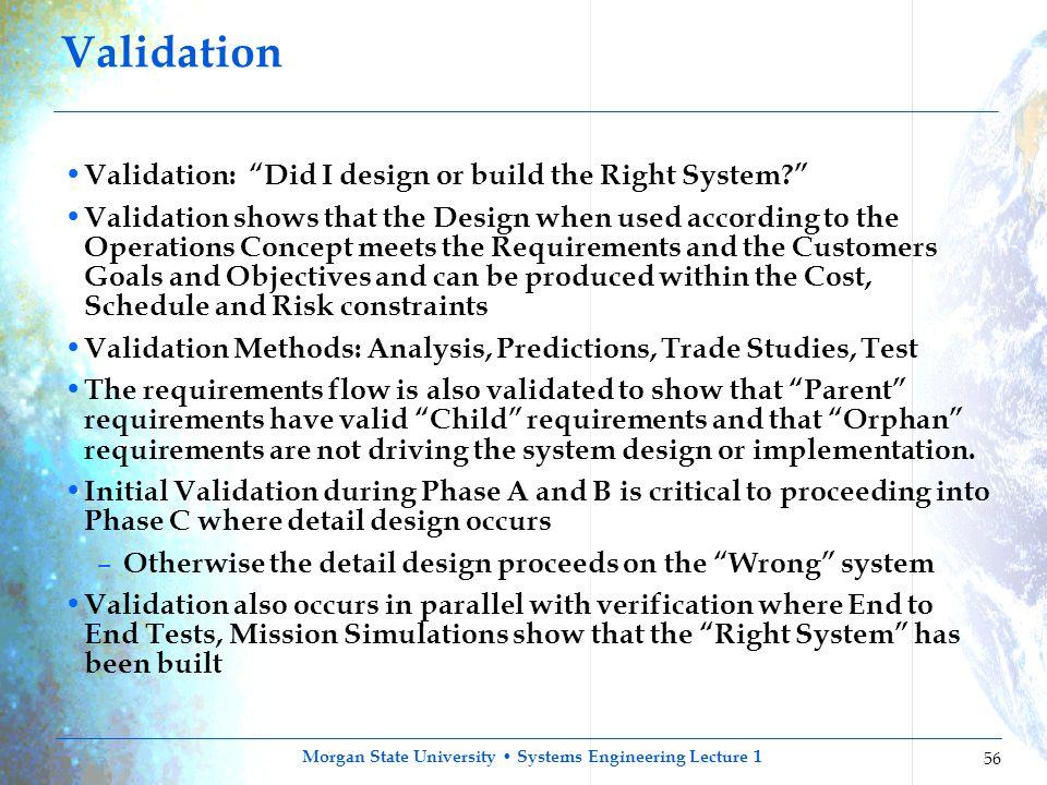 Validation Validation: Did I design or build the Right System
