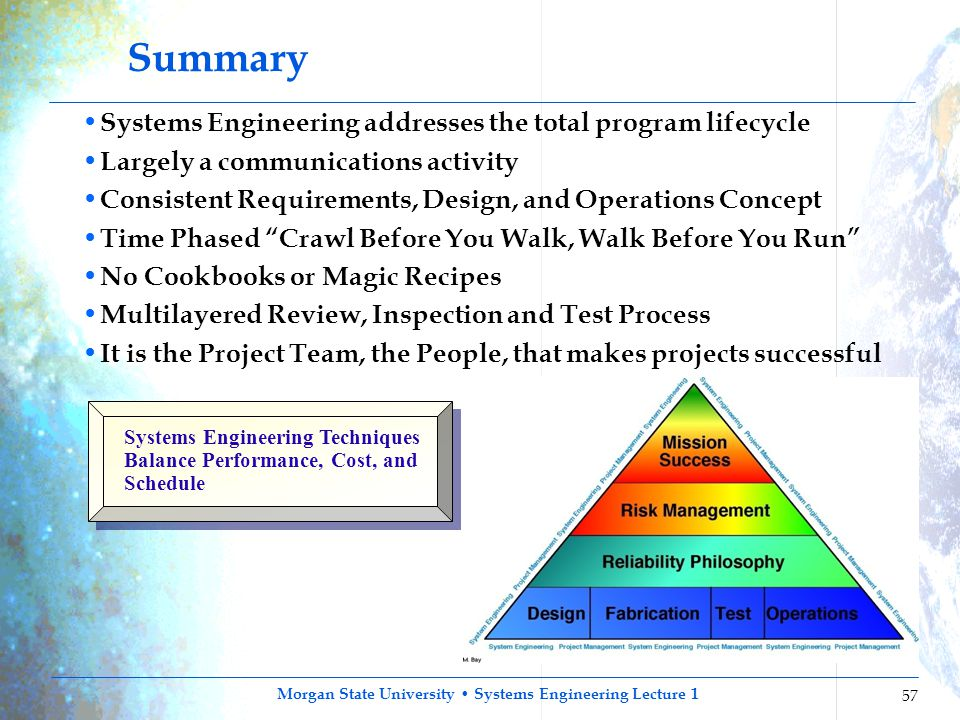 Summary Systems Engineering addresses the total program lifecycle