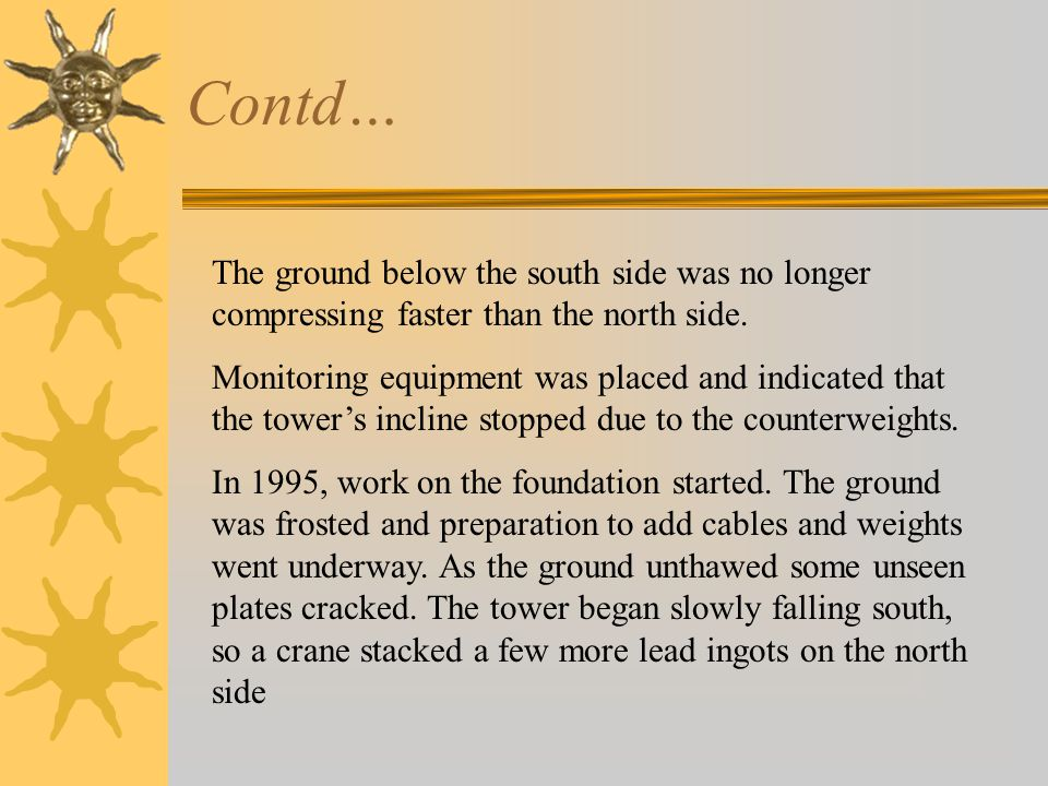 Contd… The ground below the south side was no longer compressing faster than the north side.