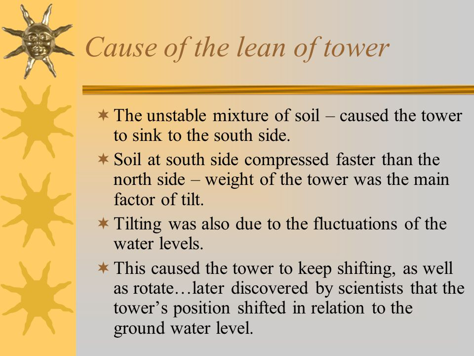 Cause of the lean of tower