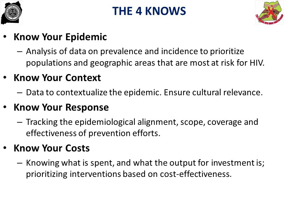 THE 4 KNOWS Know Your Epidemic Know Your Context Know Your Response