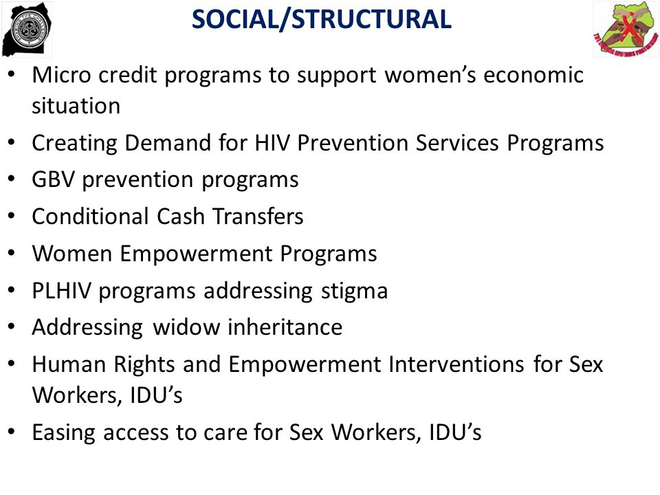 SOCIAL/STRUCTURAL Micro credit programs to support women's economic situation. Creating Demand for HIV Prevention Services Programs.