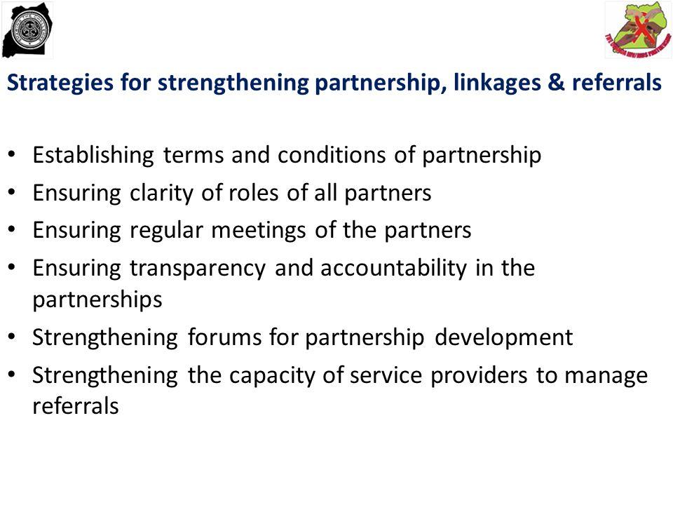 Strategies for strengthening partnership, linkages & referrals