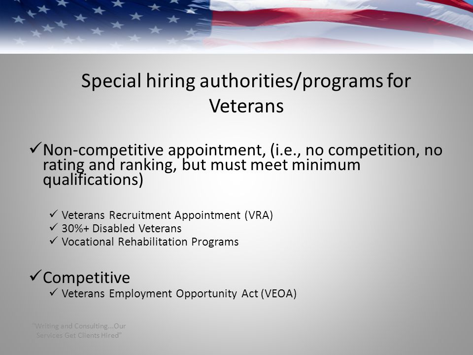Special hiring authorities/programs for Veterans