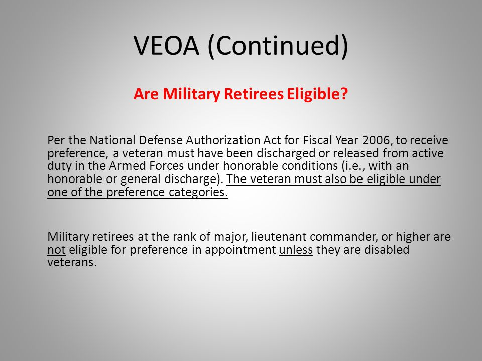 Are Military Retirees Eligible