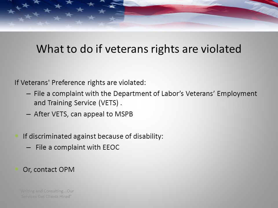 What to do if veterans rights are violated