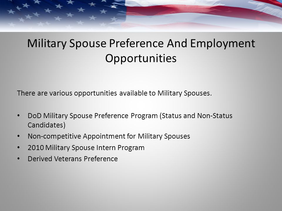 Military Spouse Preference And Employment Opportunities