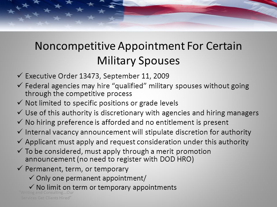 Noncompetitive Appointment For Certain Military Spouses
