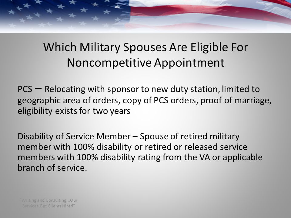 Which Military Spouses Are Eligible For Noncompetitive Appointment