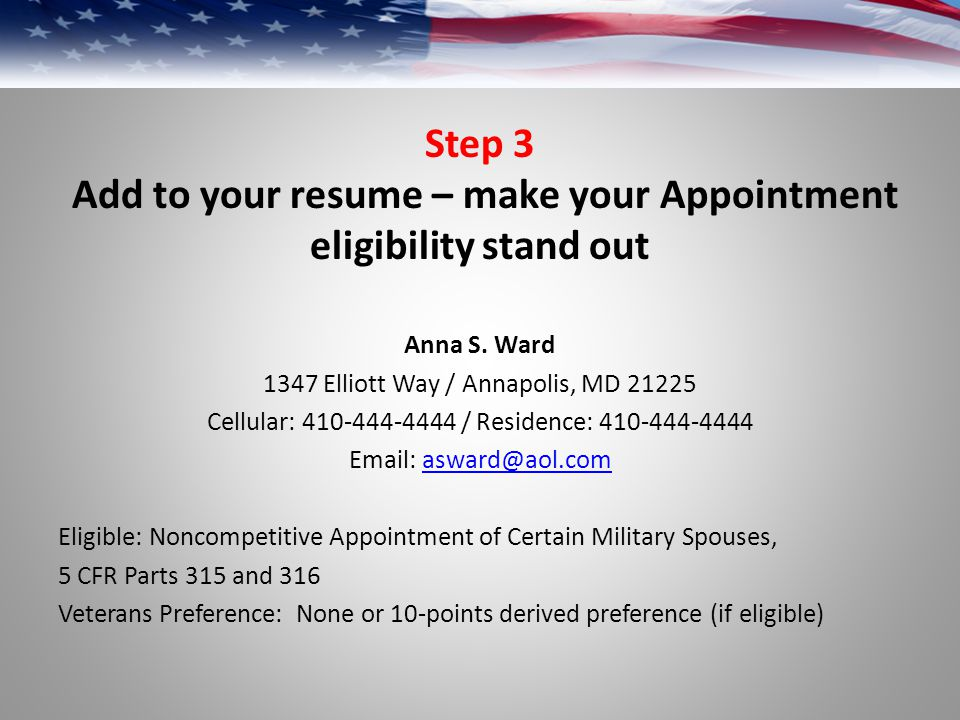 Add to your resume – make your Appointment eligibility stand out