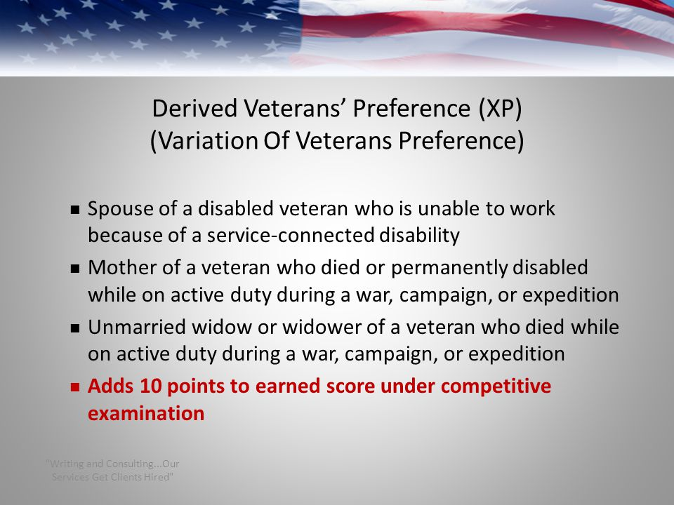 Derived Veterans' Preference (XP) (Variation Of Veterans Preference)