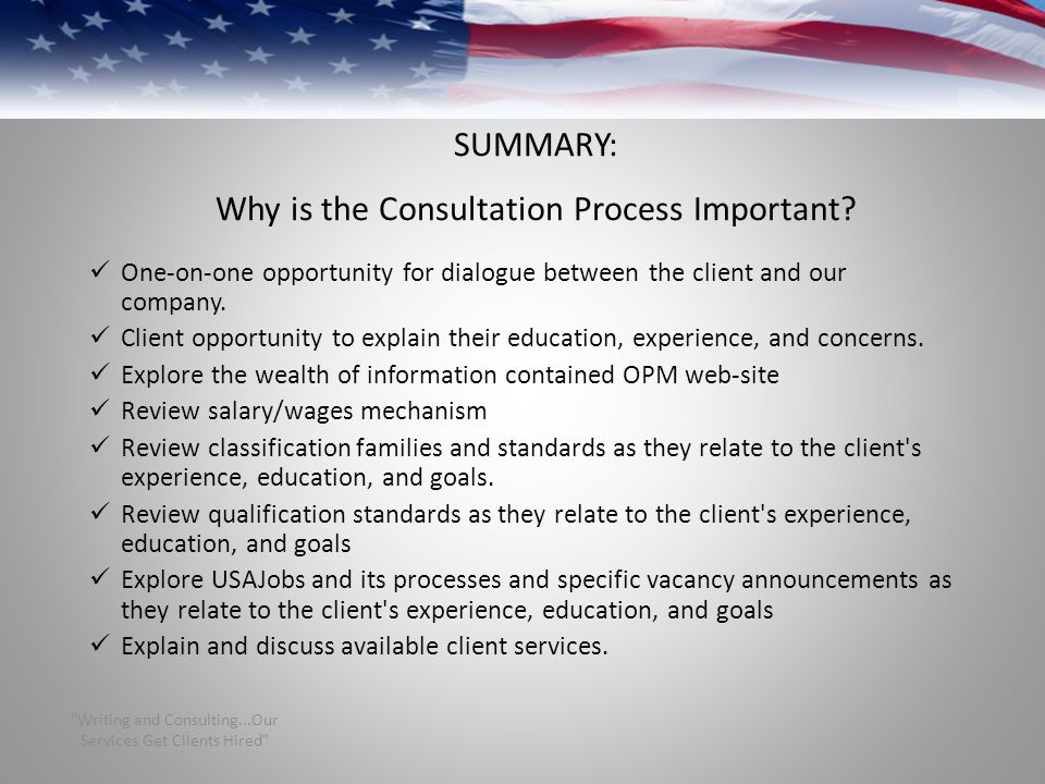 SUMMARY: Why is the Consultation Process Important