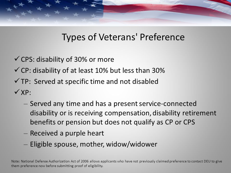 Types of Veterans Preference