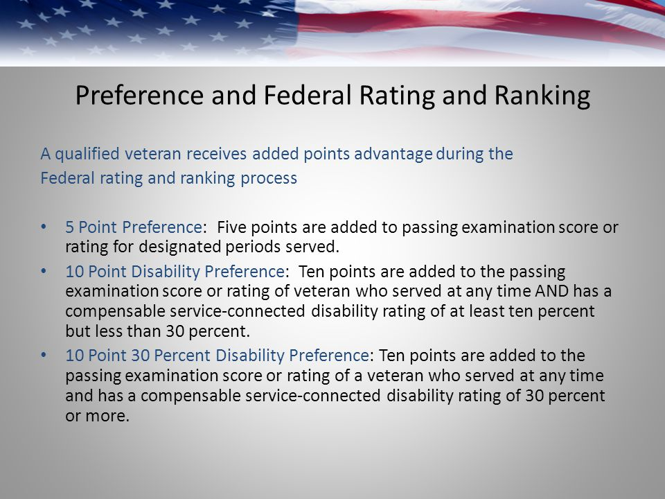 Preference and Federal Rating and Ranking