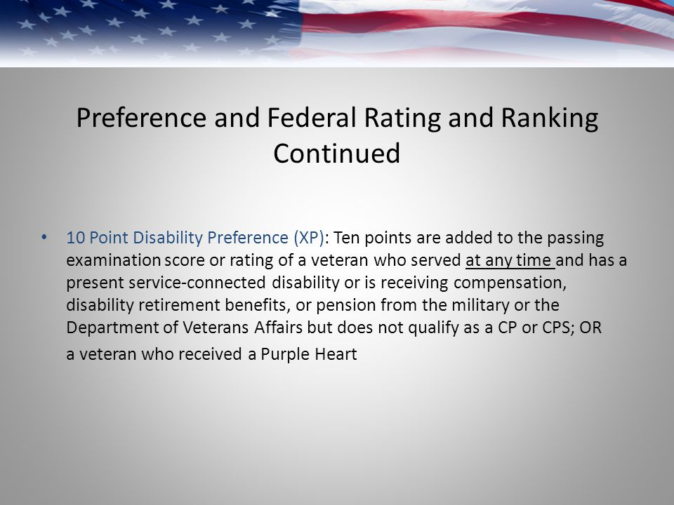 Preference and Federal Rating and Ranking Continued