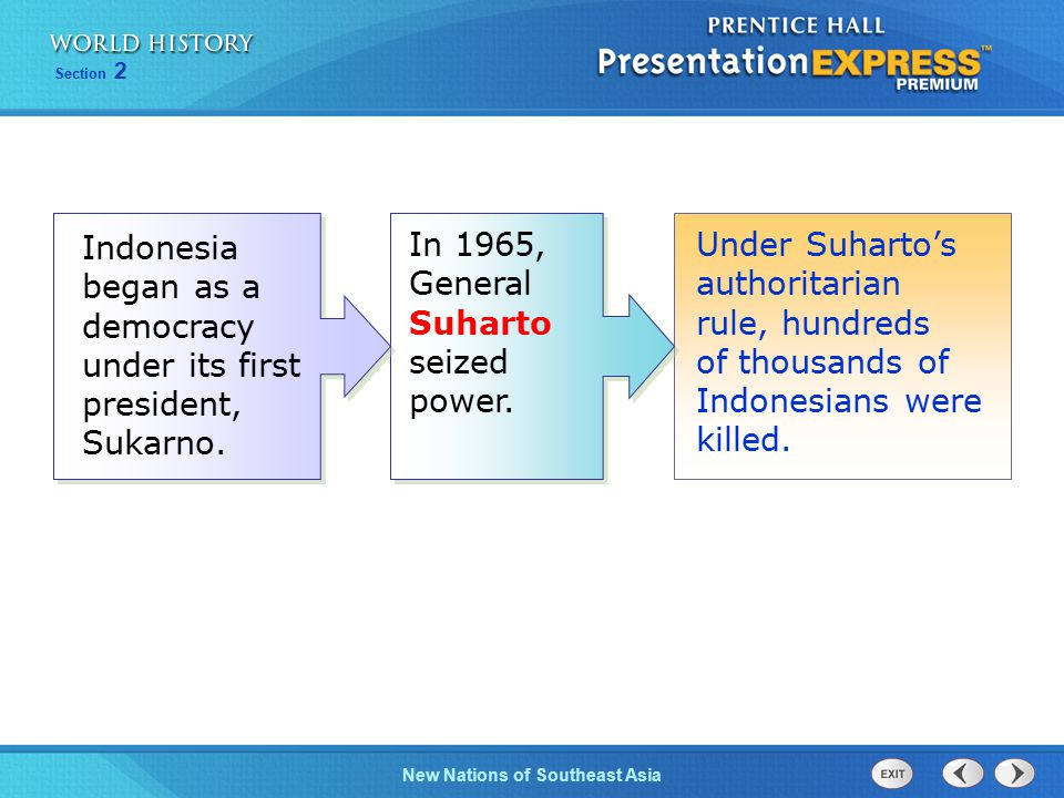 In 1965, General Suharto seized power.
