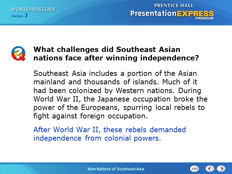 What challenges did Southeast Asian nations face after winning independence