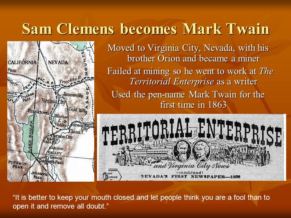 Sam Clemens becomes Mark Twain
