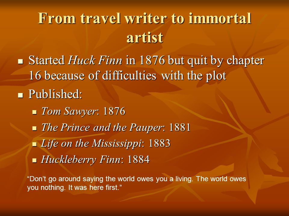 From travel writer to immortal artist