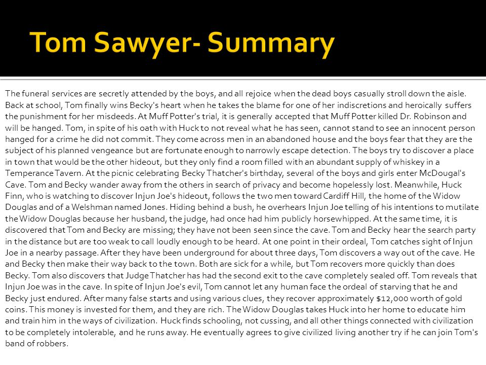 Tom Sawyer- Summary