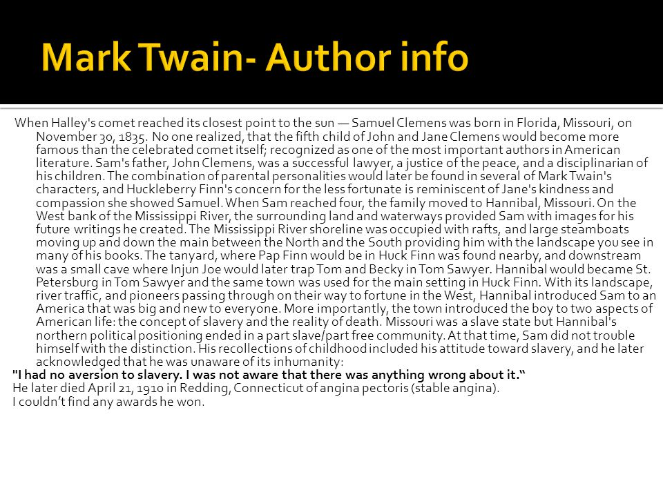 Mark Twain- Author info