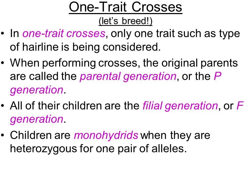 One-Trait Crosses (let's breed!)