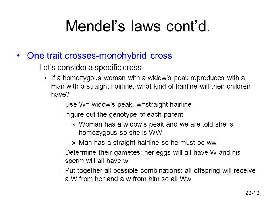 Mendel's laws cont'd. One trait crosses-monohybrid cross