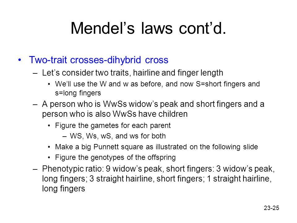 Mendel's laws cont'd. Two-trait crosses-dihybrid cross
