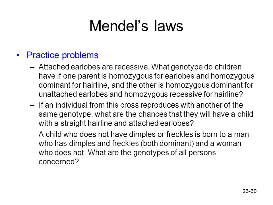 Mendel's laws Practice problems