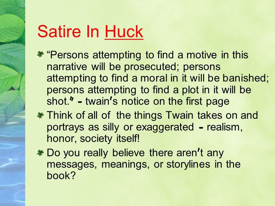 Satire In Huck