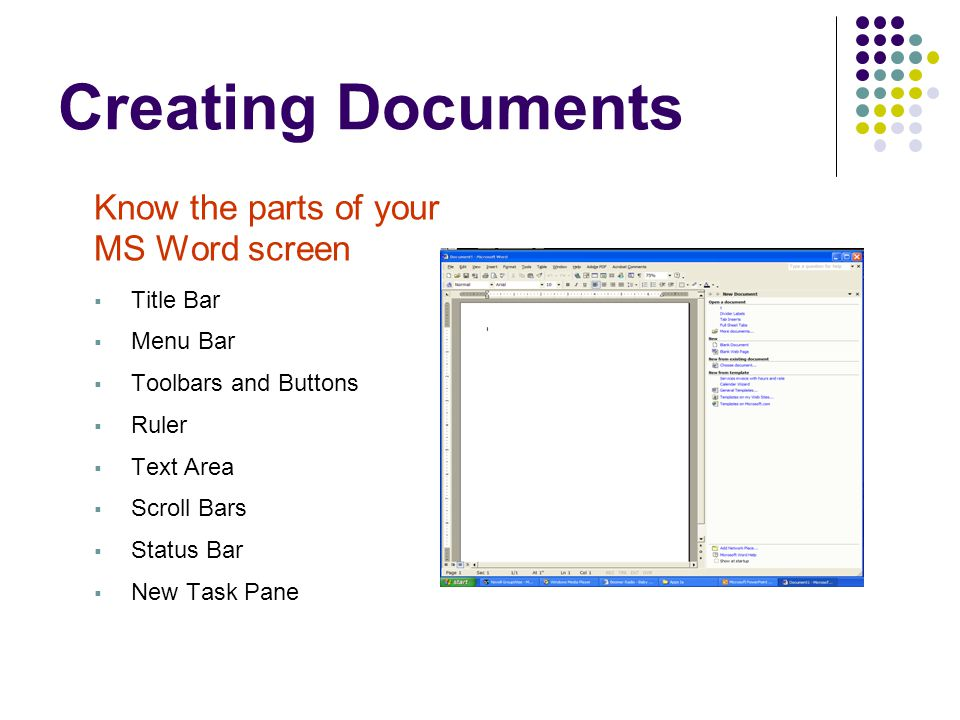 Creating Documents Know the parts of your MS Word screen Title Bar