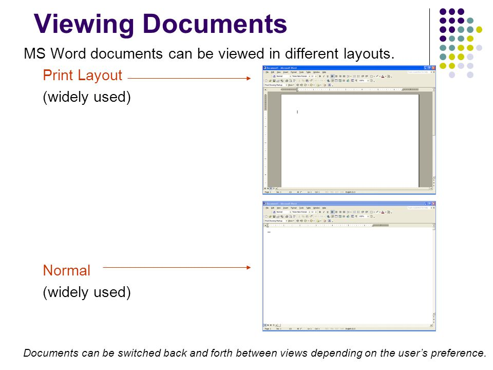 Viewing Documents MS Word documents can be viewed in different layouts. Print Layout. (widely used)