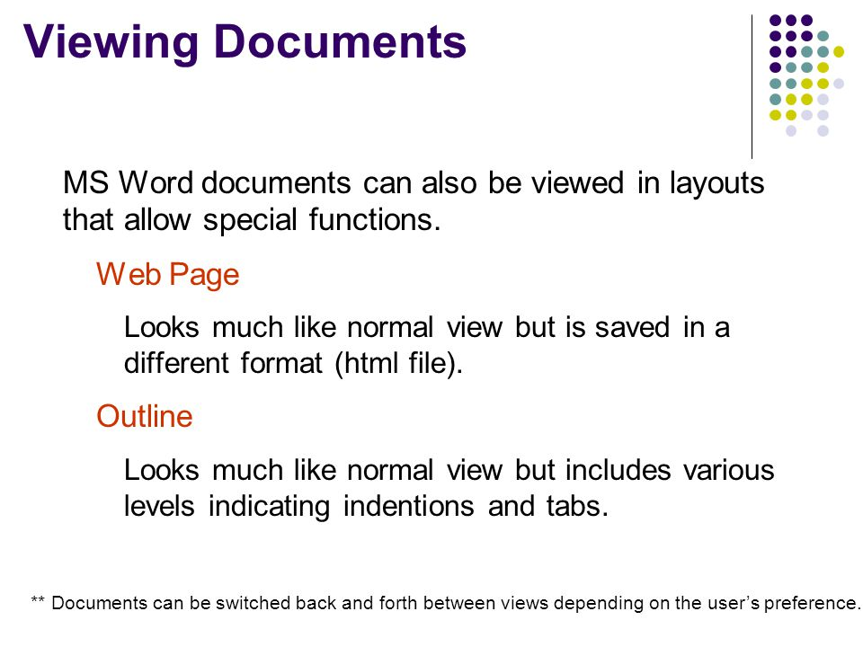 Viewing Documents MS Word documents can also be viewed in layouts that allow special functions. Web Page.