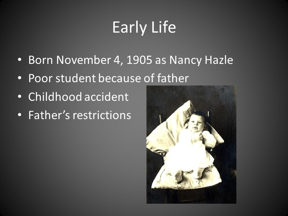 Early Life Born November 4, 1905 as Nancy Hazle