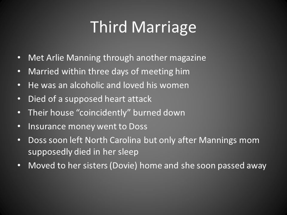 Third Marriage Met Arlie Manning through another magazine