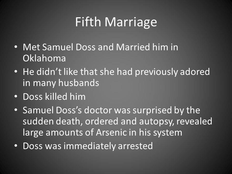 Fifth Marriage Met Samuel Doss and Married him in Oklahoma